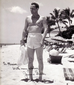 Fidler on a resort beach in the 1940s.