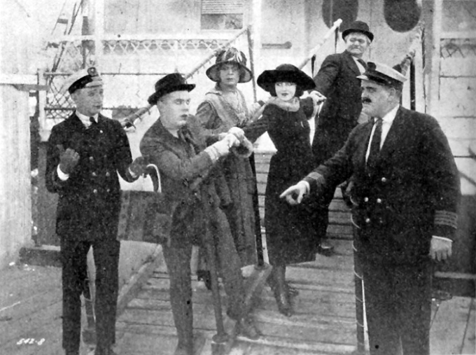 Harry Sweet, second from left, in the Century comedy Horse Sense with actress Alberta Vaughn, center. (Photo originally appeared in The Film Daily.)