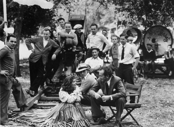 Jack Wagner, center, on the set of The Litltle Minister (1934) with Katharine Hepburn and Richard Wallace, right.
