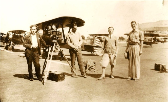 Bob Wagner, second from right, working as a second unit cameraman on the set of The Dawn Patrol (1930). (Photo: K.W. Starrett Collection)