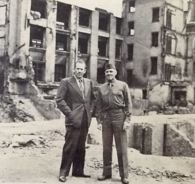 Max Wagner, right, with John Steinbeck in London, 1943. Wagner served in the Army in North Africa.