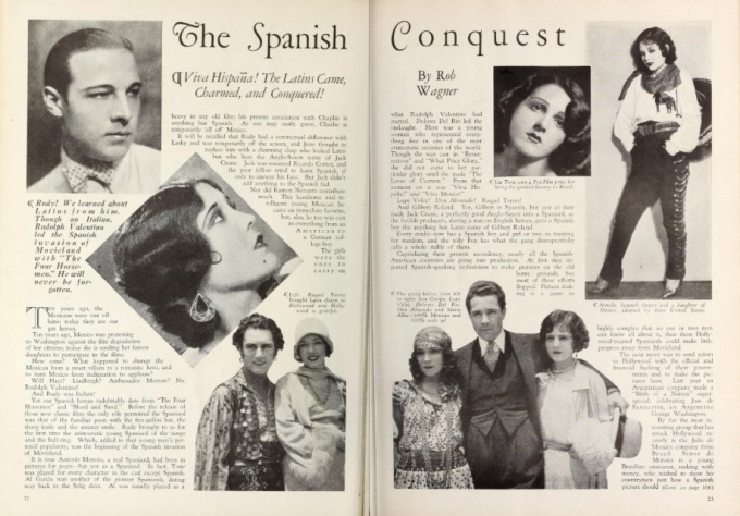 """Screenland magazine features the new wave of """"Latin"""" actors."""